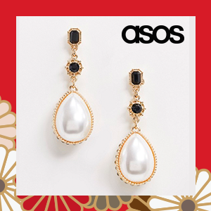 ASOS DESIGN earrings with crystal encrusted pearl drop in gold tone