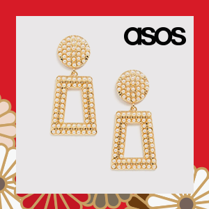 ASOS DESIGN earrings in square shape with pearl in gold tone