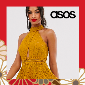 ASOS DESIGN mini dress with high neck and lace trim with peplum
