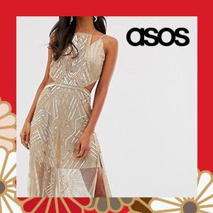 ASOS DESIGN maxi dress with geometric embellishment and sheer panels