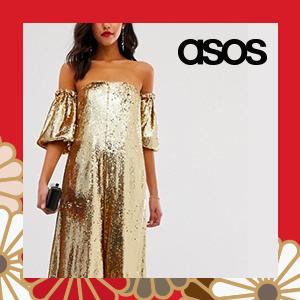 ASOS EDITION gold sequin off shoulder jumpsuit